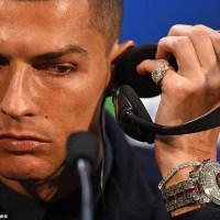 Cristiano Ronaldo Shows Off Diamond Encrusted Wrist Watch Worth £1.85million (Photos)